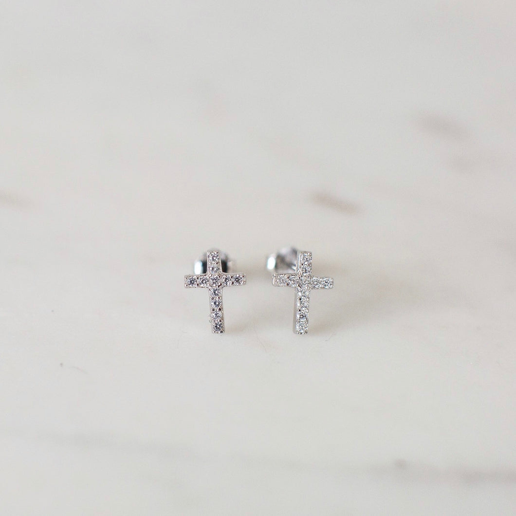 Sparkle Cross Studs