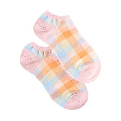 Summer Check Ankle Socks - Pink