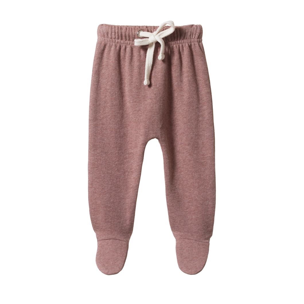 Sweatshirt Footed Rompers - Ginger Snap / Marl