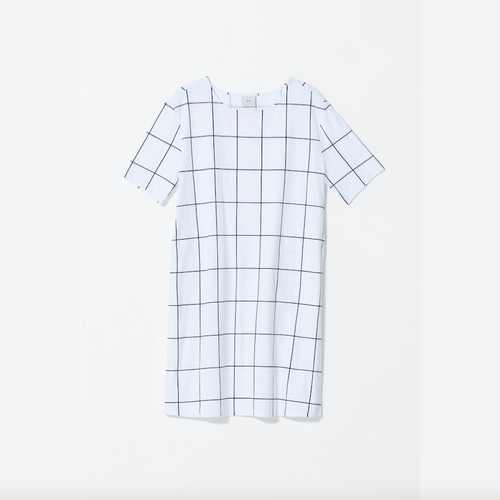 White t-shirt dress with screen printed black grid
