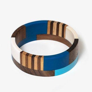 Wide Wooden & Resin Bangle + Colours