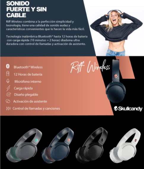 Skullcandy Riff Wireless - Audífonos Inalámbricos Bluetooth.