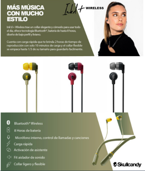 Skullcandy Ink'd+ Wireless Audífonos Inalámbricos Negros.