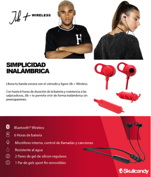 Skullcandy Jib+ Wireless Audífonos Inalámbricos Rojo.