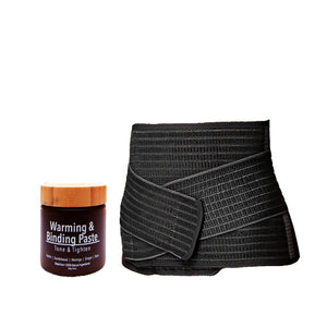 Bamboo Fibre Belly Binder and Warming & Binding Paste. Made from 100% natural ingredients.