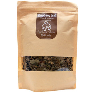 Raspberry Leaf in resealable kraft paper pouch with foil lining. 100g in volume. Made from 100% natural ingredients.