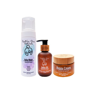 Bubba care bundle consists of Baby Wash, Baby Oil and Nappy Cream. Made from 100% Natural ingredients.