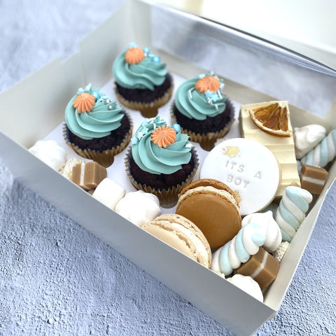 Newborn baby boy hospital dessert gift box