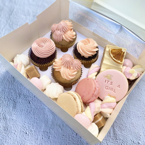Newborn baby girl hospital dessert gift box