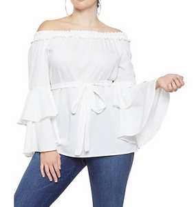 Plus Size Off the Shoulder Tiered Sleeve Top