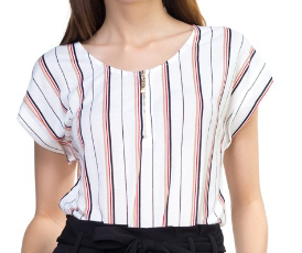 Stripe Textured Zip-Up Blouse
