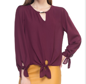 Long Sleeve Gold Bar Neck Blouse-BURGUNDY
