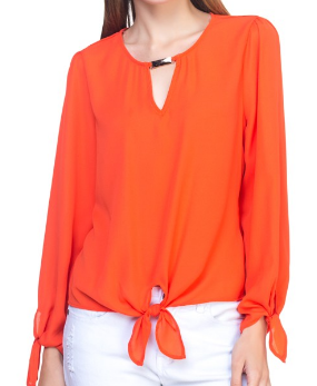 Long Sleeve Gold Bar Neck Blouse-ORANGE