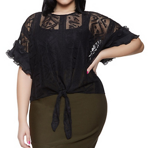 Plus Size Crochet Trim Mesh Top