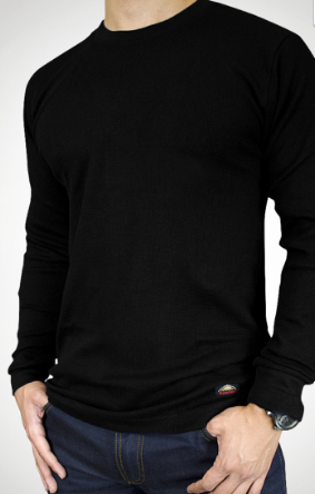 LONG SLEEVE CREW NECK T-SHIRT- Black