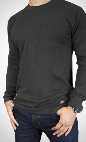 LONG SLEEVE CREW NECK T-SHIRT- Grey