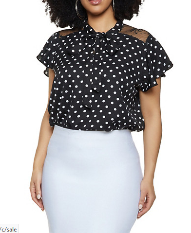 Plus Size Lace Yoke Polka Dot Top-Black/White