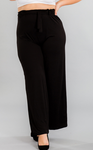 Plus Size Wide-Leg Pants - Black
