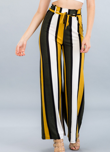 Striped Wide-Leg Pants- Mustard