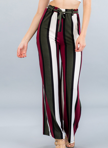 Striped Wide-Leg Pants- Wine