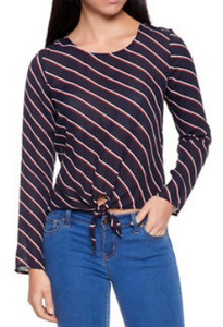 Striped Tie Front Top-NAVY