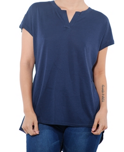 Women's High Low V Neck Short Sleeve Top- NAVY