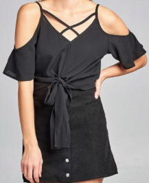 Chiffon Stylish Top - Black