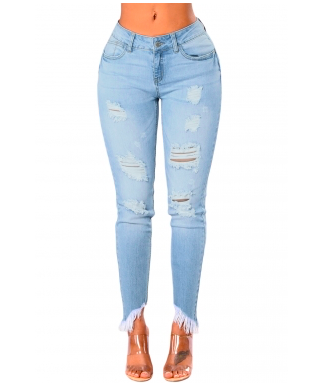 (LIGHT BLUE) Stylish Skinny Jeans