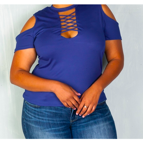 Plus Size Denim Cold Shoulder Top