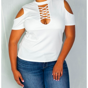 Plus Size White Cold Shoulder Top