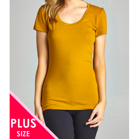 PLUS SIZE BASIC SHORT MUSTARD