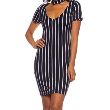 CHOCKER STRIPED DRESS - BLACK