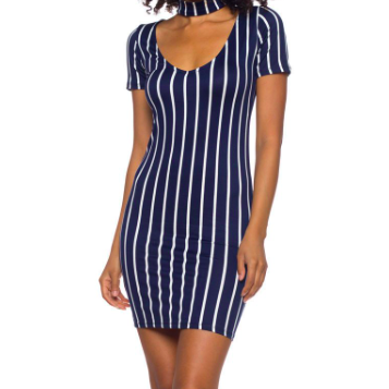 CHOCKER STRIPED DRESS - NAVY