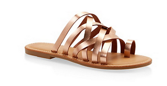 Toe Ring Multi Strap Slide Sandals-ROSE