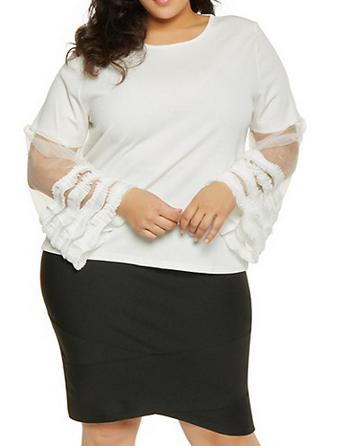 Plus Size Pleated Ruffle Mesh Sleeve Top-RED