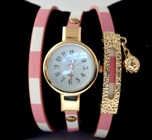 Women's Wrap-around Stripped Watch-PINK/WHITE