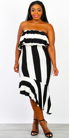 Stripe Off The Shoulder Ruffle Dress