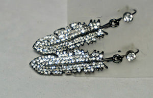 Diamond Feather Earring-Silver
