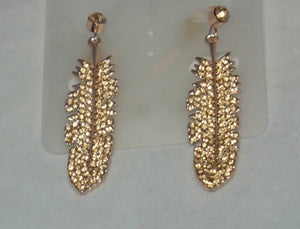 Diamond Feather Earring-Rose Gold