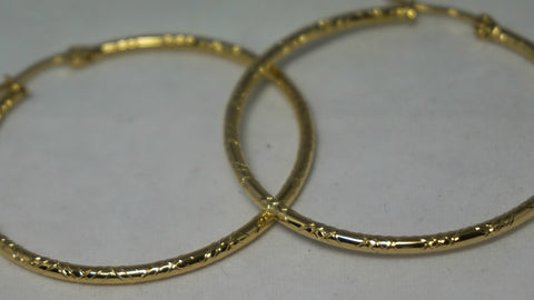 Small Gold Detailed Hoop Earring