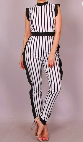 STRIPED JUMPSUIT WITH RUFFLE