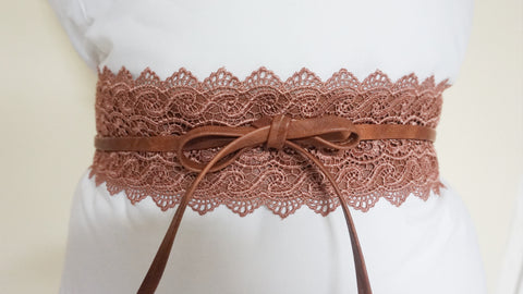 Lace Tie Wrap Belt - Brown