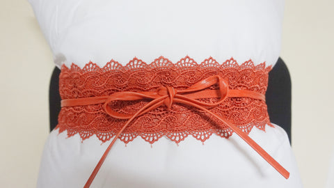 Lace Tie Wrap Belt - Orange