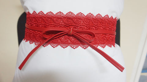 Lace Tie Wrap Belt - Red