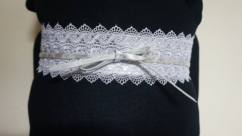 Lace Tie Wrap Belt - Silver