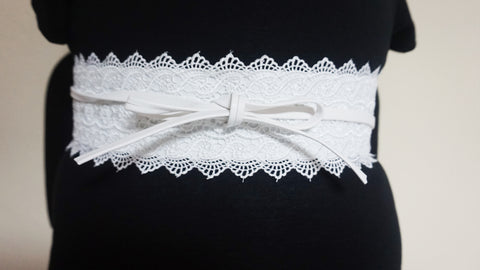 Lace Tie Wrap Belt - White