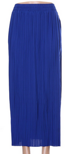 Pleated Long Skirt- Royal blue