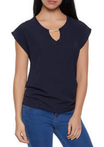 Metallic Detail Crepe Knit Top-NAVY