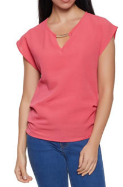 Metallic Detail Crepe Knit Top-CORAL