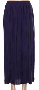 Pleated Long Skirt- Purple